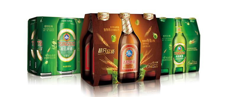 青岛啤酒 上海经典,棕金多包装